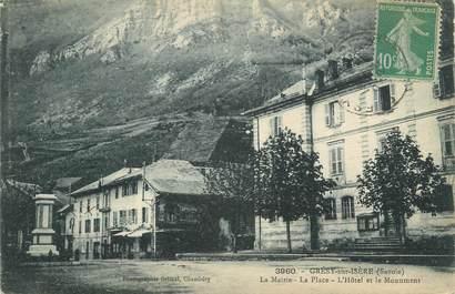 """CPA FRANCE 73 """" Grésy sur Isère, La Mairie, la place, l'hôtel et le monument aux morts"""""""