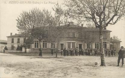 "CPA FRANCE 38 "" Azieu Genas, La place"""
