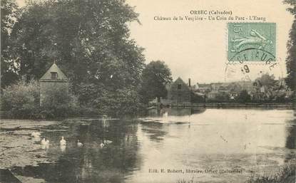 """/ CPA FRANCE 14 """"Orbec, château de la Vespière, un coin du parc, l'étang"""""""