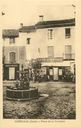 """CPA FRANCE 30 """" Génolhac, Place de la Fontaine"""""""