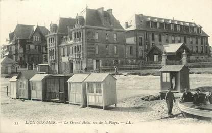 """/ CPA FRANCE 14 """"Lion sur Mer, le grand hôtel vu de la plage"""""""
