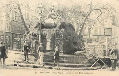 """CPA FRANCE 83 """" Toulon, Place Puget, Fontaine des Trois Dauphins"""""""