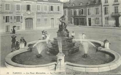 """CPA FRANCE 65 """" Tarbes, La Place Marcadieu, la Fontaine Source d'Amour"""""""