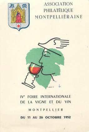 """CPSM FRANCE 34 """" Montpellier, La Foire Internationale de la Vigne et du Vin de 1952"""""""