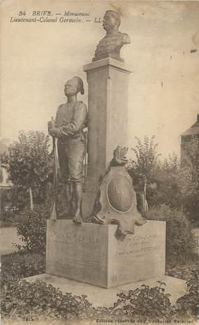 """CPA FRANCE 19 """" Brive, Le monument du Lieutenant Colonel Germain"""""""
