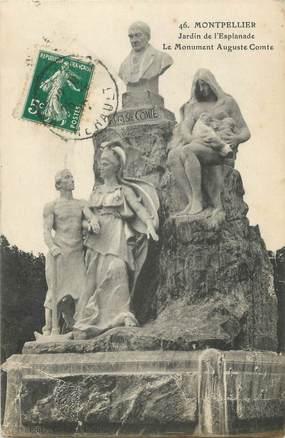 """CPA FRANCE 34 """" Montpellier, Jardin de l'Esplanade, Le monument Auguste Comte"""""""