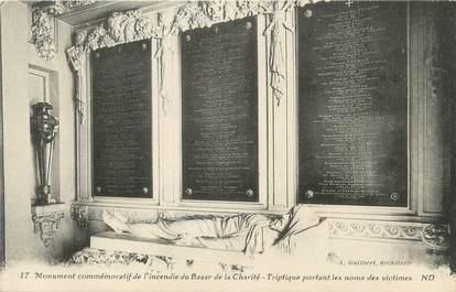 """CPA FRANCE 75 """" Paris 10ème, Le monument commémoratif de l'incendie du Bazar de la Charité"""""""