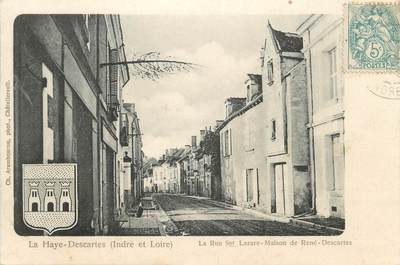 """CPA FRANCE 37 """" La Haye Descartes, La Rue St Lazare Maison de René Descartes"""""""