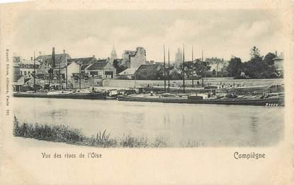 """CPA FRANCE 60 """" Compiègne, Vue des rives de l'Oise"""" / PENICHE"""