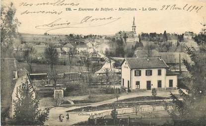 """CPA FRANCE 90 """"Env. de Belfort, Morvillars, la Gare"""""""