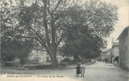 """CPA FRANCE 38 """" Pont de Chéruy, Un coin de la place"""""""