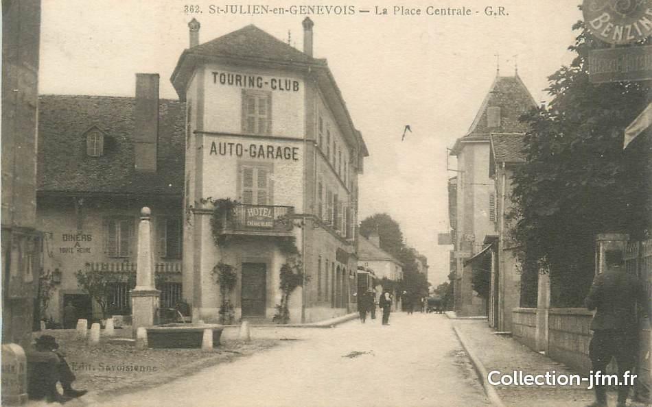 Cpa france 74 st julien en genevois la place centrale 74 haute savoie saint julien en - Garage st julien en genevois ...