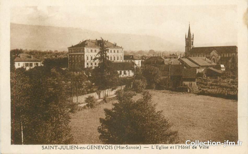 Cpa france 74 st julien en genevois l 39 glise et l 39 h tel de ville 74 haute savoie saint - Piscine saint julien en genevois ...