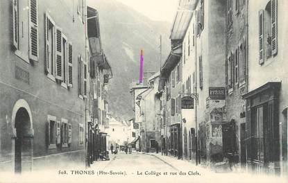 """CPA FRANCE 74 """" Thônes, Le collège et a Rue des Clefs"""""""