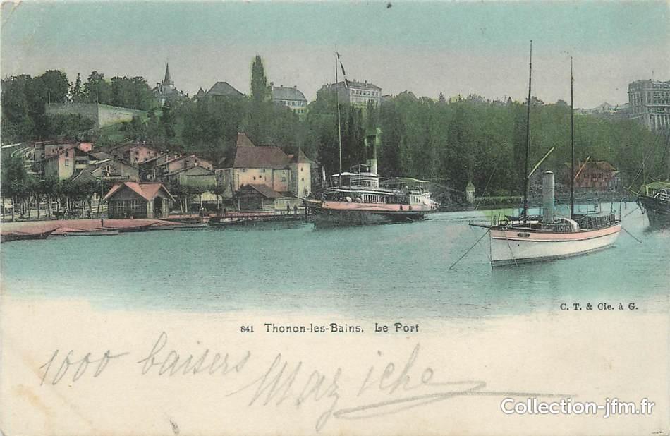Cpa france 74 thonon les bains le port 74 haute savoie thonon les bains 74 ref - Restaurant port de thonon ...