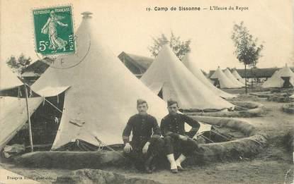 """CPA FRANCE 02 """"Camp de Sissonne, l'Heure du repos"""""""