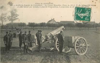 """CPA FRANCE 02 """"Camp de Sissonne, artillerie lourde de campagne, le canon """""""