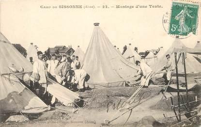 """CPA FRANCE 02 """"Camp de Sissonne, montage d'une tente"""""""