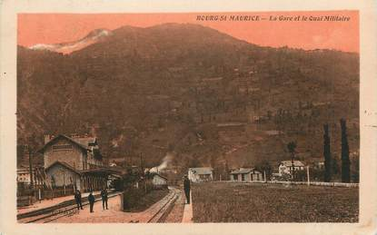 """CPA FRANCE 73 """" Bourg St Maurice, La gare et le quai militaire"""