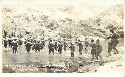"""CARTE PHOTO MEXIQUE / RÉVOLUTION MEXICAINE """"Troupes américaines, Expédition punitive contre Pancho Villa"""""""