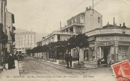 """CPA FRANCE 06 """" Menton, La Rue Partourneaux et l'Allée des Orangers"""""""