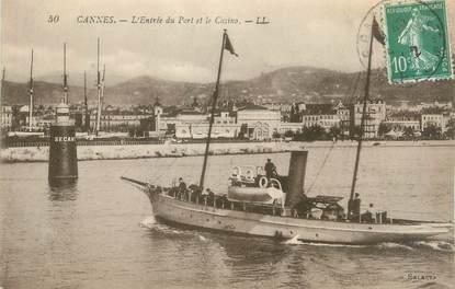 """CPA FRANCE 06 """" Cannes, L'entrée du Port et le Casino"""""""