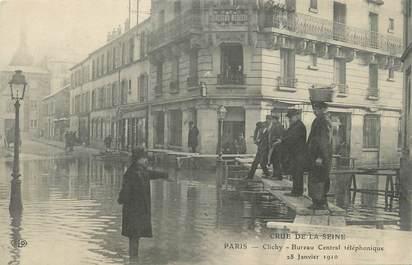 """CPA FRANCE 92 """" Clichy, Bureau Central Téléphonique"""" / INONDATIONS 28 JANVIER 1910"""