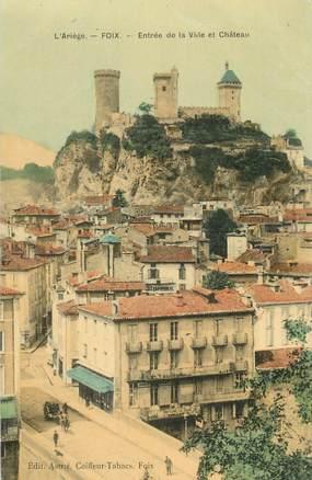 """CPA FRANCE 09 """" Foix, Entrée de la Ville et Château"""""""