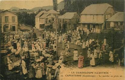 """CPA GUADELOUPE illustrée """"Capesterre, le marché en plein air"""" / N°79 / CARTE TOILÉE"""