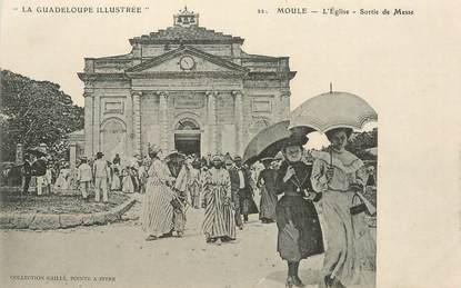"""CPA GUADELOUPE illustrée """"Moule, L'Eglise, sortie de Messe"""" / N° 22"""