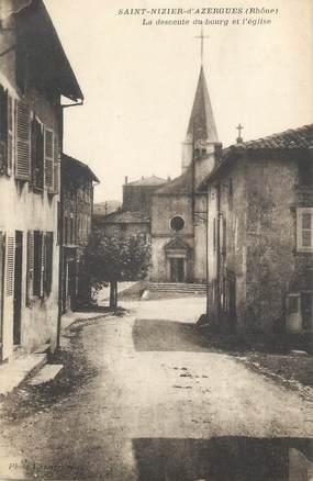 """CPA FRANCE 69 """" St Nizier d'Azergues, La descente du bourg et l'église"""""""