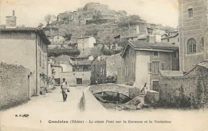 """CPA FRANCE 69 """" Condrieu, Le vieux pont sur la Garenne et la Visitation"""""""