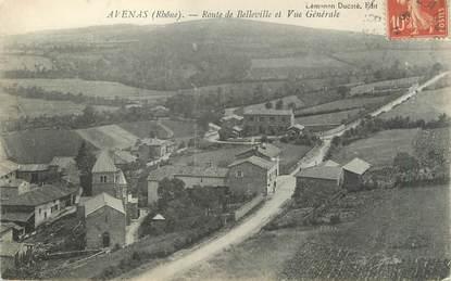 """CPA FRANCE 69 """" Avenas, Route de Belleville et Vue générale"""""""