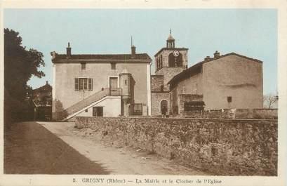"""CPA FRANCE 69 """" Grigny, La Mairie et le clocher de l'église"""""""