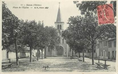 """CPA FRANCE 69 """" Bron, Place de l'église"""""""