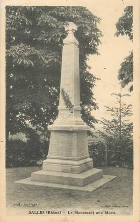 """CPA FRANCE 69 """"Salles, Le monument aux morts"""""""