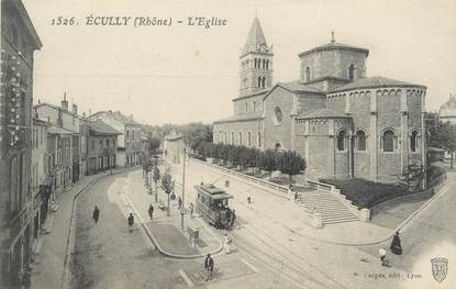 "CPA FRANCE 69 ""Ecully, L'église"" / TRAMWAY"