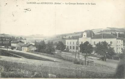 """CPA FRANCE 69 """"Lamure sur Azergues, Le groupe scolaire et la gare"""""""