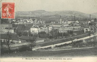 "CPA FRANCE 69 "" Bourg de Thizy, Vue d'ensemble des usines"""