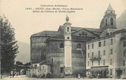 """CPA FRANCE 06 """"Breil, la Place Biancheri, Hotel de l'Union et vieille Eglise"""""""
