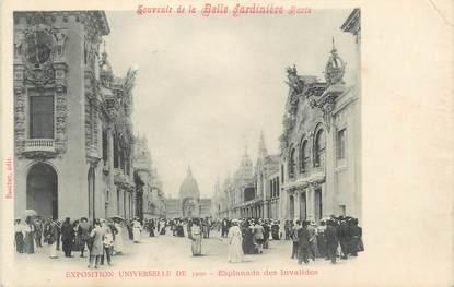 """CPA FRANCE 75 """"Paris, Exposition universelle 1900, L'Esplanade des Invalides"""" / PUBLICITE BELLE JARDINIERE"""
