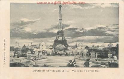 """CPA FRANCE 75 """"Paris, Exposition universelle 1900, Vue prise du Trocadéro"""" / PUBLICITE BELLE JARDINIERE"""