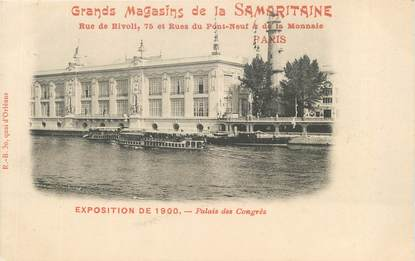 """CPA FRANCE 75 """"Paris, Exposition universelle 1900, Palais des Congrès"""" / PUBLICITE SAMARITAINE"""