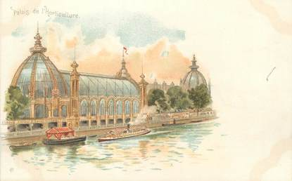 """CPA FRANCE 75 """" Paris, Exposition Universelle 1900, Palais de l'Horticulture """" / PUBLICITE CREME EXPRESS"""