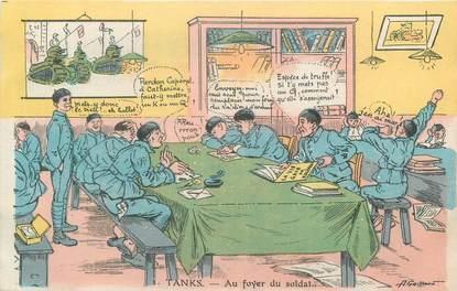 """CPA MILITAIRE """" Au foyer du soldat"""" / DESSIN / TANK"""