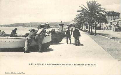 "CPA FRANCE 06 ""Nice, La Promenade du Midi, bâteaux de pêcheurs"""