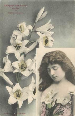 """CPA BERGERET """" Le langage des fleurs : Le Lys"""""""