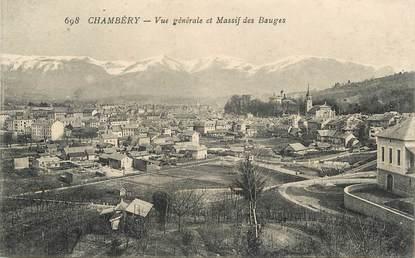 """/ CPA FRANCE 73 """"Chambéry, vue générale et massif des Bauges"""""""