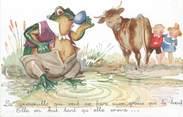 """Illustrateur CPA MAUZAN """" La grenouille qui veut se faire aussi grosse que le boeuf"""""""