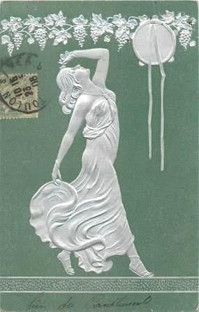 CPA ART NOUVEAU / FEMME / CARTE EN RELIEF